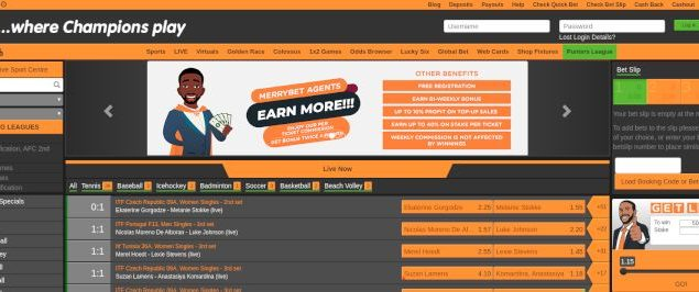 MerryBet main page