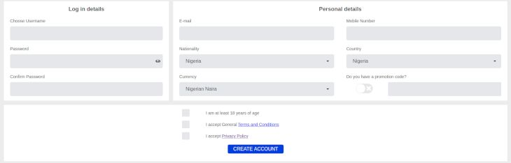 Opening an Account at Nairabet