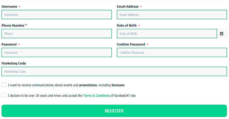 Registering an Account on SureBet247